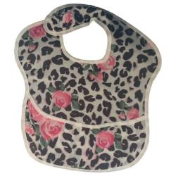 4AKID Waterproof Baby Bib With Crumb Catcher - Pink Roses