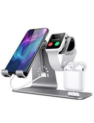 Bestand 3 In 1 Apple Iwatch Stand Airpods Charger Dock Phone Desktop Tablet Holder For Airpods Apple Watch iphone X 8 PLUS 8 7 Plus ipad Grey Pate