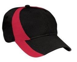 Sport-Tek Dry Zone Nylon Colorblock Cap Black true Red Osfa