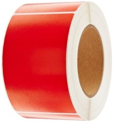 """Tape Logic DL632A Inventory Rectangle Label 5"""" Length X 3"""" Width Red Roll Of 500"""