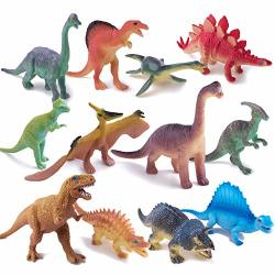 """Peruser Dinosaurs Toys 12-PACK 5"""" To 7"""" Realistic Dinosaur Figures With Dinosaur Book Kids And Toddlers - Great Gift Set Birthday Present Or Party Favor"""