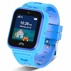 2020 Updated 4G Kids Smartwatch With Gps Tracker Touch Screen Boys Girls Watch Phone Waterproof With Remote MONITORING SOS GAME PEDOMETER FACETALK 2-WAY Call Kids Christmas Birthday Gift Toys Blue