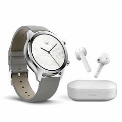 Ticwatch Bundle With C2 Smartwatch Wear Os Gps Nfc IP68 Waterproof - Platinum + Ticpods 1 True Wireless Earbuds - Ice