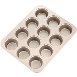 """Chefmade 12-CAVITY-2.8"""" Muffin Pan Non-stick Carbon Steel Cupcake Mold Fda Approved For Oven Baking Champagne Gold"""