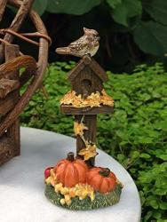 Shopforallyou Figurines And Statues Miniature Dollhouse Fairy Garden MINI Fall Halloween Birdhouse W Pumpkins New