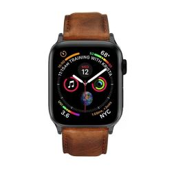 Colton James Leather Strap For Black space Grey 40MM Apple Watch - Brown