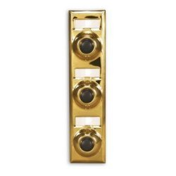ELECTRIC Lee BC208B Brass Wired Classic 3 Gang Family Unlighted Push Button With Black Button For Bell