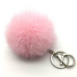 Raylans Soft Fluffy Elegant Real Rabbit Fur Pompom Ball Car Key Chain Handbag Keyrings Silver Chain Pink