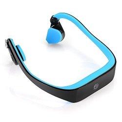 Powerrider Bone Conduction Headset Sweatproof Wireless Bluetooth Earphone Outdoor Sports Headphone Hands-free With MIC Blue