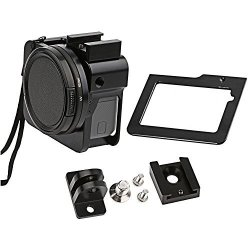 Gurmoir Aluminum Alloy Skeleton Housing Case Metal Side Open Wire Connectable Frame With Rear Door For Gopro Hero 5 Action Camera
