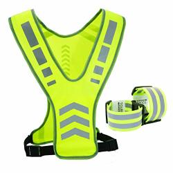 Tourun Reflective Running Vest Gear With Pocket For Women Men Kids Safety Reflective Vest Bands For Night Cycling Walking Bicycl