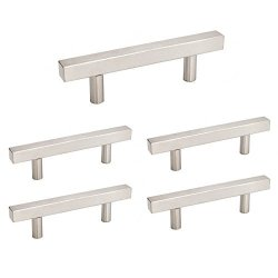 Awesome Homdiy Brushed Nickel Square Cabinet Pulls Drawer Dresser Handles Hdj22Sn 2 1 2In Hole Centers Stainless Steel Kitchen Wine Storage Cabinet Hardware Interior Design Ideas Philsoteloinfo