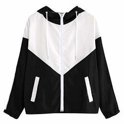 Women Ets Female Zipper Pockets Casual Long Sleeves Coats Autumn Hooded Et Two Tone Windbreaker Et Black M