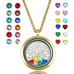 YOUFENG Floating Living Memory Locket Pendant Necklace Family Tree Of Life Birthstone Necklaces Gold Polished Locket