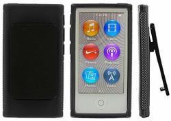 Ipod Black Belt Clip Tpu Rubber Skin Case Cover For Apple Ipod Nano 7TH Generation 7G 7