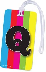 INITIAL Luggage Tag Letter Q Personalized Id Tag Colorful Tv Test Pattern Design Q
