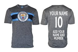 Icon Sports Manchester City Soccer Jersey Men's Adult Training Custom Name And Number Grey M