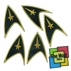 The Most Lot Of 6 5+1 Movies Star Trek Star Fleet Space Embroidered Iron sew On Patch Black