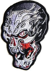 Panicha Fire Flame Skull Ghost Skeleton Outlaw Biker Rider Hippie Punk Rock Heavy Metal Tatoo Patch Sew Iron On Embroidered Sign Badge