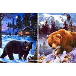 Bimkole 2PACK 5D Diy Diamond Painting Kits Black And Brown Bears Full Diamond Art For Adults Day And Night Beast Rhinestone Embroidery Set Paint
