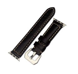 Meraki 38MM Leather Band For Apple Watchwith Stainless Steel Buckle - Black