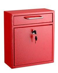 AdirOffice Locking Drop Box Wall Mounted Mailbox Medium Red