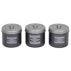 Contour - 3 Piece Canister Set - Silver And Charcoal