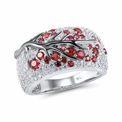 Santuzza 925 Sterling Silver Ring Delicate Pink Cherry Tree Created Ruby Shiny White Cubic Zirconia 7.5