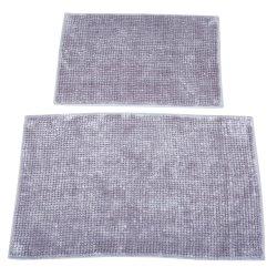 DULCE - 2 Piece Bath Mat Set Micro Chenille Silver