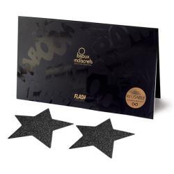 Bijoux Indiscrets Flash Star Reusable Black Glitter Nipple Pasties