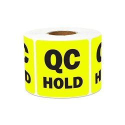 300 Labels - Qc Hold Stickers For Quality Control Inventory Warehouse 2 X 2 Inch Yellow - 1 Roll