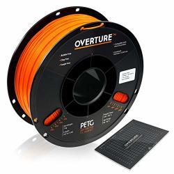 Overture Petg Filament 1.75MM With 3D Build Surface 200 X 200 Mm 3D Printer Consumables 1KG Spool 2.2LBS Dimensional Accuracy + - 0.05 Mm Fit Most Fdm Printer Orange