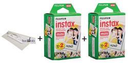 Fujifilm Instax MINI 9 Film Set Of 2 Twin Packs = 40 Sheets Instax MINI 9 Film For Fuji Instant Camera + Free Microfiber