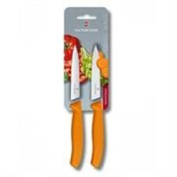 Victorinox Swiss Army 2 Serrated Paring Knife Orange Retail Box No Warranty