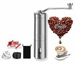 MSDUSA Manual Coffee Bean Grinder Heaviest Duty Portable Conical Burr Mill For French Press Turkish Handheld MINI K Cup Brushed Stainless Steel Best Grind For