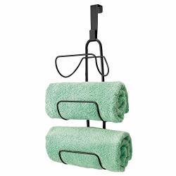 Mdesign Modern Decorative Metal Wire Over Shower Door Towel Rack Holder Organizer - For Storage Of Bathroom Towels Washcloths Ha