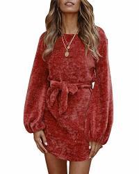 faisean womens velvet high waist mini dress lace up long