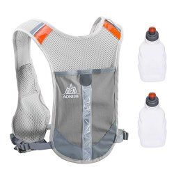Triwonder Reflective Running Vest Hydration Vest Hydration Pack Backpack For Marathoner Running Race Cycling Grey - With 2 Water
