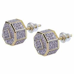 Luxury Rhinestone Crystal Stud Earrings Silver gold Color Iced Out Round Bling Earring Women Men Fashion Hip Hop Jewelry M083