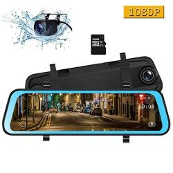 Camons 10 Inch Mirror Dash Cam Dual Lens Ips Touch Screen Rear View Mirror Camera With 170 1080P Front And 1080P Backup Camera Built-in G-sensor 32