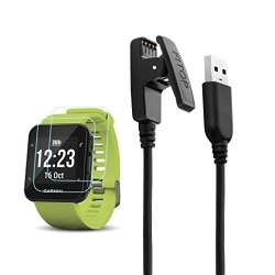 For Garmin X1 Forerunner 35 Charger Charging Clip Synchronous Data Cable + X2 Free HD Tempered Glass Screen Protector