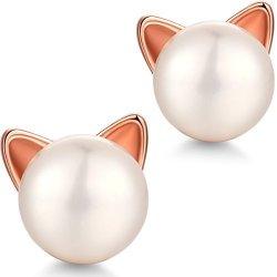 ZowBinBin Cat Earrings Sterling Silver Cat Love Stud Earrings Freshwater Shell Pearl Earrings 8MM White Pearl Cat Earrings Kitty