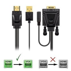 HDMI To Vga Cable 6 Feet HDMI To Vga Adapter Cable With Aduio And USB Cable For Laptop PS3 PS4 DVD Desktop - Black
