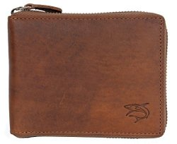 Natural Glazed Genuine Leather Wallet With Shark - Metal Zip Around Zipper Around