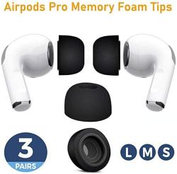 USA Canopus Memory Foam Replacement Earbud Tips Compatible With Airpods Pro To Avoid Falling Off 3 Pairs Small Medium Large Blac