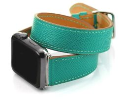 "Apple Watch Strap 42MM Genuine Leather Double Loop Wrap ""hermes"" Band By Anebest - Teal"