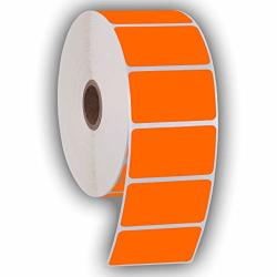 """2.25"""" X 1.25"""" Direct Thermal Perforated Stickers Labels For Barcodes Address Consignment - Compatible With Zebra Rollo Godex And More Orange 1 Roll"""