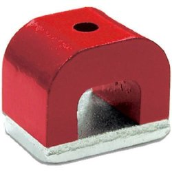 "Magnet Source Red Cast Alnico 5 Bridge Magnet With Keeper 1.18"" Wide 0.78"" High 0.78"" Thick 0.20"" Hole On Top Pack Of 1"