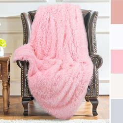 "Yj.gwl Shag Faux Fur Throw Blanket-super Soft Warm Home Decor Fluffy Bed Throws -long Hair Blankets For Couch Sofa Chair Pink 50""X60"" Throw"
