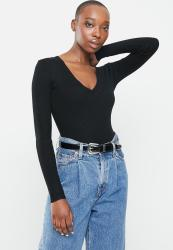 Missguided Skinny Rib Knitted V Neck Body - Black